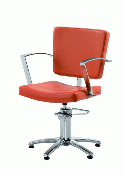 כסא למספרה זיאום לבן/שחור/אדום