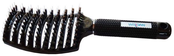 מברשת כף יד שחורה לתוספות שיער עם מגנט