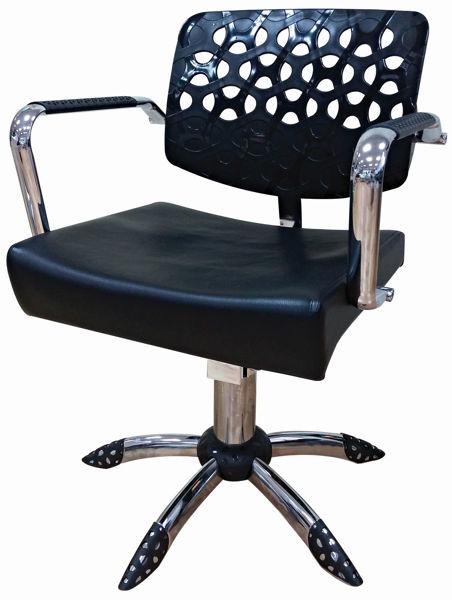 כסא ליאו ריפוד שחור גב שחור